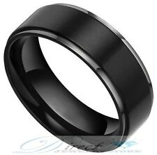 8MM Black Tungsten Carbide Rings Flat Brushed Wedding Band Size 7.5 to 14.5