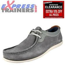 Base London Mens Catch Suede Leather Moccasin Casual Shoes Grey * AUTHENTIC *
