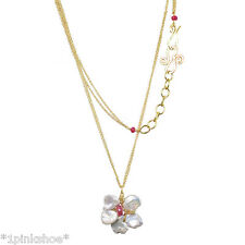 Necker 281 ~Keshi Pearl Flower Necklace with Stone & Metal Choice