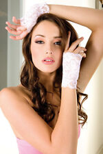 White or Pink Fingerless Stretch Floral Lace Gloves Sexy Designer Lingerie P416
