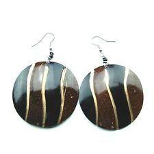 Maasai Market African Ethnic Handmade Coconut Shell Dangle Round Earrings 741-57