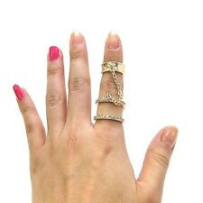 New Celebrity Trendy Style Iced Out Double Ring with Chain Midi Ring JR3023