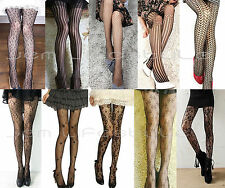 Sexy Fashion 10 Styles Fishnet Pattern Jacquard Stockings Pantyhose Tights Black