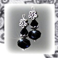 Petite drop jet black crystal with silver earrings, any fittings