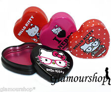 HELLO KITTY Glossy Lip Balm Gloss Lipgloss Lipstick in Metal Heart Tin