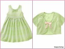 NWT 6 janie & jack TIME FOR TEA 2pc Spring Green Cotton Eyelet Dress & Shrug Set