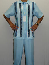 Mens SILVERSILK Two Piece Walking Leisure Suit Silky Matching Set 5324 Blue NEW