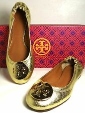 Tory Burch Reva Crackled Metallic Gold Leather Ballet Flats 5-11