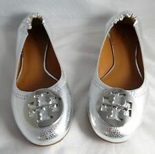 Tory Burch Reva Crackled Metallic Silver Leather Ballet Flats 5-11