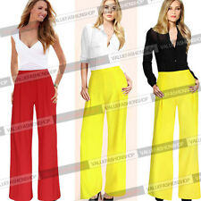Women Summer Chiffon Palazzo High Waist Career Wide Leg Trousers Loose Pants 643