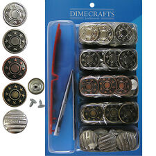 Popular 17 mm  No-Sew Jean Tack Buttons Assorted Set of 50 w/Setter Tool