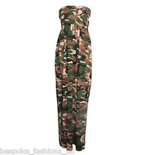 Ladies Womens Camouflage Army Print Sheering Bandeau Maxi Dress Plus Size's 8-22