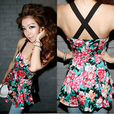 New HOT women GILRS fashion sleeveless vest party floral tape print mini dress