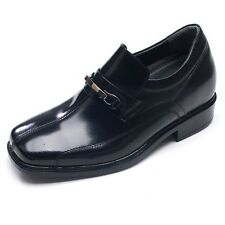 """3.2""""UP black leather increase height square toe for men slip-on elevator shoes"""