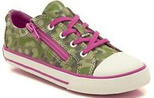 GIRLS CLARKS FASHIONABLE LACE/ ZIP UP TOE CAP CAMOUFLAGE SUMMER CANVAS TOP GAME