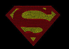 WONDER WOMAN SPIDERMAN SUPERMAN OR BAT GIRL LOGO RHINESTONE IRON ON TRANSFER
