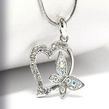 NEW CRYSTAL HEART & BUTTERFLY PENDANT NECKLACE WHITE GOLD PLATED