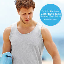 Fruit of the Loom FOTL Mens Cotton Sleeveless Top Athletic Vest S XXL SS100 New