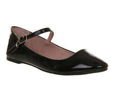 Womens Office Kontrary BLACK PATENT Flats