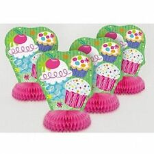 Pack of 4 Red or Pink Cupcake Cake Birthday Party Table Centrepieces Decorations