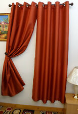 "FAUX SILK  Window Treatments Curtains Drape GROMMETS 63"" 84"" 108"" RUST"