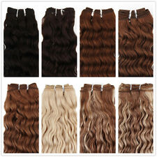 """Curly Brazilian Weft Real Human Hair Extensions 20"""" Black or Brown Full Head"""