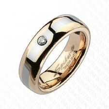 Wedding Ring 6mm Tungsten Carbide Rose Gold IP 2-Tone Diamond Ring size 5 to 8