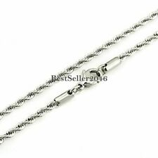 "3mm Stainless Steel Rope Chain Link Necklace for Men Ladies 16"" - 36"" Available"