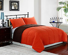 ORANGE/BROWN - KING Size 3pc Reversible Down Alternative Comforter Set, Bedding