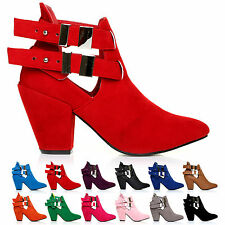 NEW FASHION SUEDE LOOK LADIES HIGH BLOCK HEEL CUT OUT SHOE BOOTS WITH TWO STRAPS