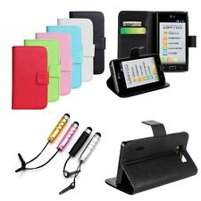 Flip PU Leather Wallet Stand Card Holder Case Cover for LG Optimus L7 P700 P705