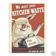 'Pig Food Poster' - Large Magnetic Notice Board / Metal Wall Art