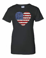 JUNIORS PATRIOTIC T-SHIRT American Flag Heart U.S.A. RED WHITE BLUE STARS S-2X