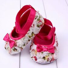3-12 M Baby Girls Shoes Soft-Soled Prewalkers Rose Bowknot Toddler Infant Shoes