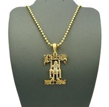 """New Iced Out DEATH ROW RECORDS Pendant &3mm27"""" Ball Chain Hip Hop Necklace XMP23"""