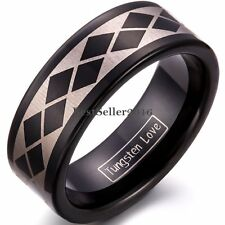 8mm Black Tungsten Carbide Ring Celtic Argyle Comfort Fit Pipe Cut Wedding Band