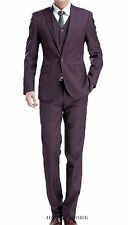 HoneyStore Bespoke Single Button Three Piece Slim Fit Burgundy Prom Suits 2014