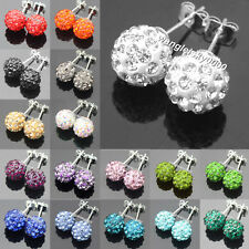 10mmFashion Sparkle Round Shamballa Crystal Ball Stud Earrings For Wedding Party