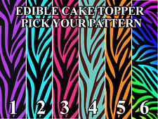 ZEBRA PATTERN BLACK BACKGROUND Edible image Cake toppers cupcakes, cake strips