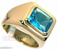 Mens Solitaire Aqua Marine 18kt Gold Plated Stainless Steel Ring