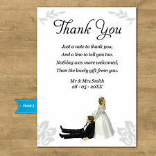 Personalised funny wedding thank you cards + Envelopes Bride Pulling Groom