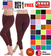 WOMEN SEAMLESS ONE SIZE STRETCH SPANDEX YOGA PANTS OPAQUE CAPRI LEGGINGS