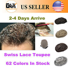 "62 Color Swiss Lace Mens Hair Piece Toupee Remy 6"" Replacement System"