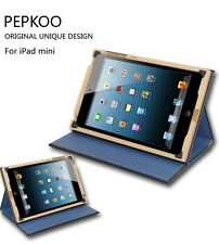Pepkoo 360° Rotation Leather Wooden Case Smart Cover for iPad mini/ 2 3 4/ Air 5