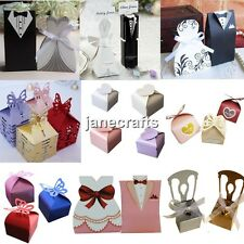 50/100x Tuxedo Dress Groom Bridal Wedding Favor Box Candy Box Party Gift Ribbon