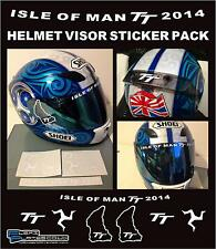 ISLE OF MAN TT 2014 HELMET VISOR STICKER PACK KIT MOTORBIKE ROAD RACING DECALS