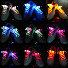 LED Flash Light Up Glow Shoelaces Shoe Laces DISCO Bar Party Skating Multi-Color