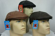 NWT 100% LEATHER Men Gatsby Cap Newsboy Ivy Hat Golf Driving Flat Cabbie M-3XL