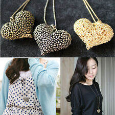 1pc Lady Girls Fashion Chic 3D Big Hollow Heart Long Chain Sweater Necklace