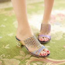 Blingbling Tassels Ladies Crystal Open Toe Block Cut Outs Shoes Sandals Slippers